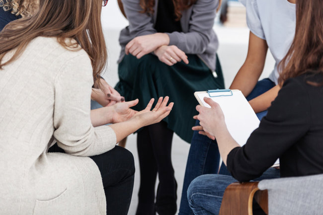 people in group therapy at houston meth rehab