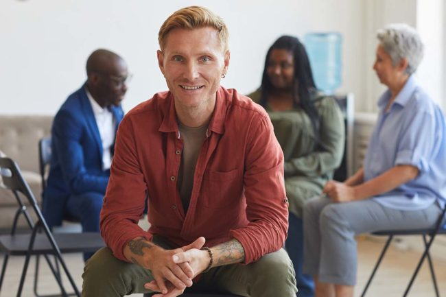 man enjoys his aftercare program to maintain sobriety